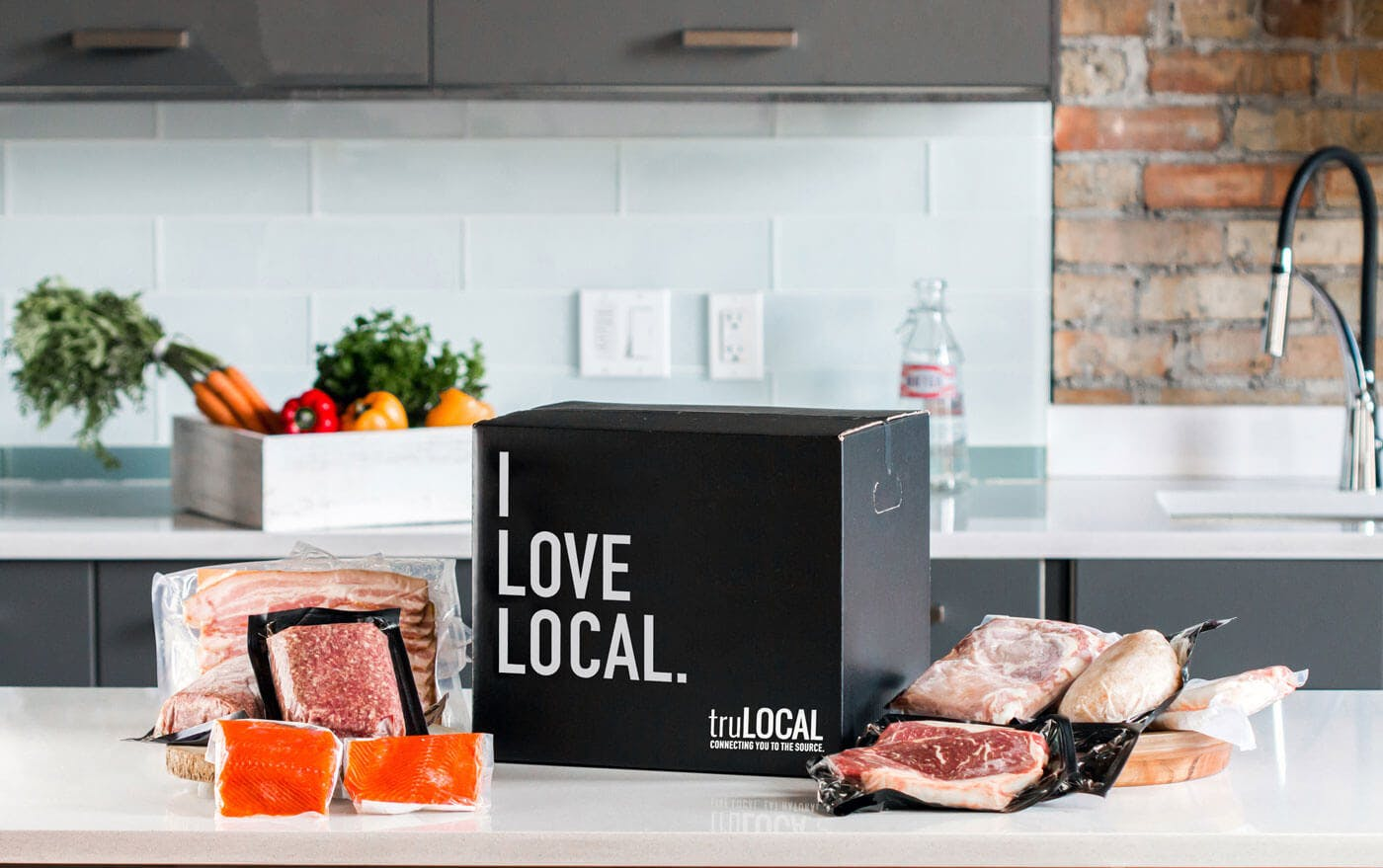 truLOCAL box on kitchen counter
